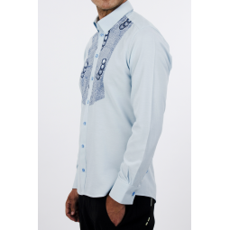 Blue and decorated LOME shirt