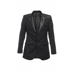 BLACK COTTON AND LEATHER BLAZER