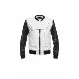 WHITE COTTON AND LEATHER JACKET